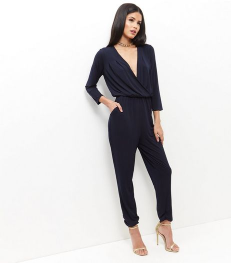 Mela Navy V Neck Wrap Jumpsuit  | New Look