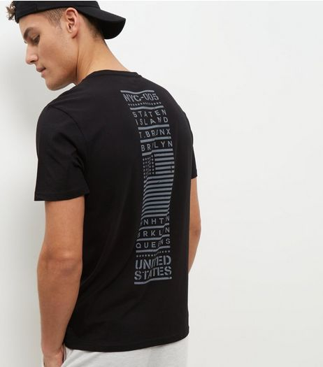 Black NYC Panel Print T-Shirt  | New Look