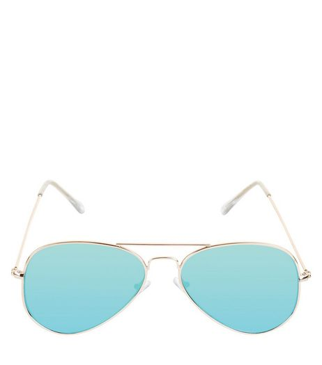 Gold Double Bar Pilot Sunglasses | New Look