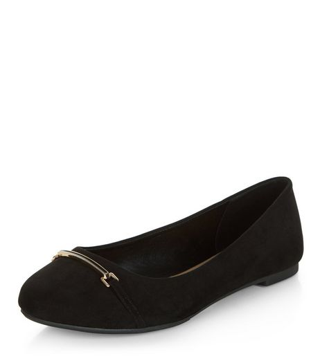 Black Metal Trim Ballet Pumps | New Look
