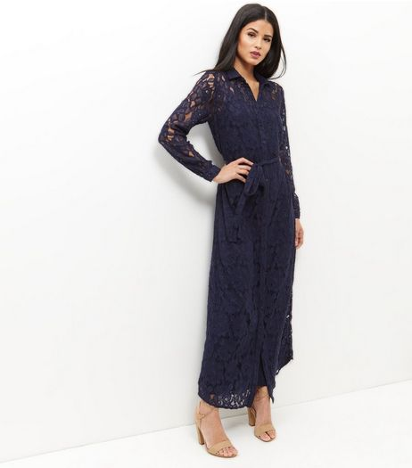 Mela Navy Lace Maxi Shirt Dress | New Look
