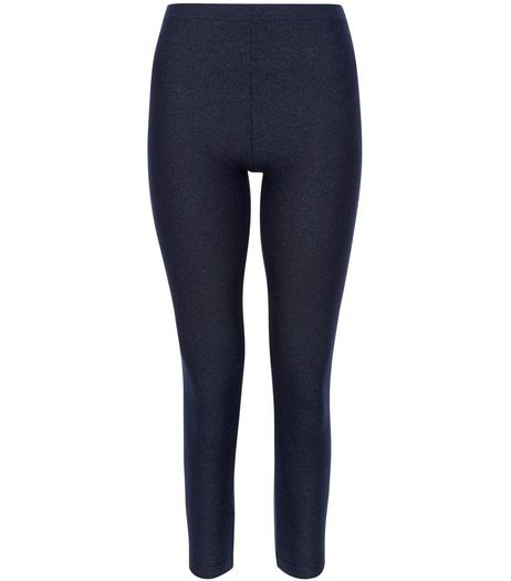 Girls Navy Rinse Washed Jeggings | New Look