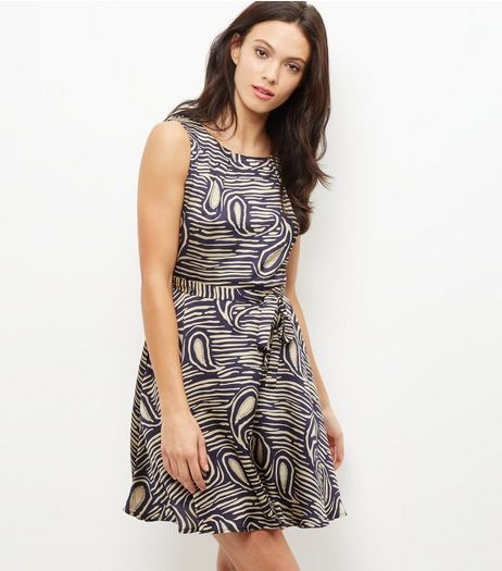 Mela Blue Abstract Print Sleeveless Dress | New Look