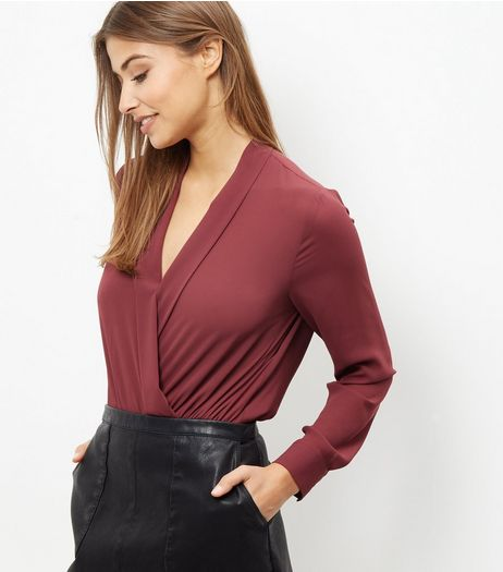 Burgundy Wrap Long Sleeve Bodysuit | New Look
