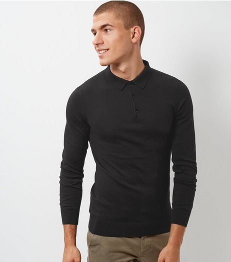 Black Long Sleeve Polo Neck Shirt | New Look