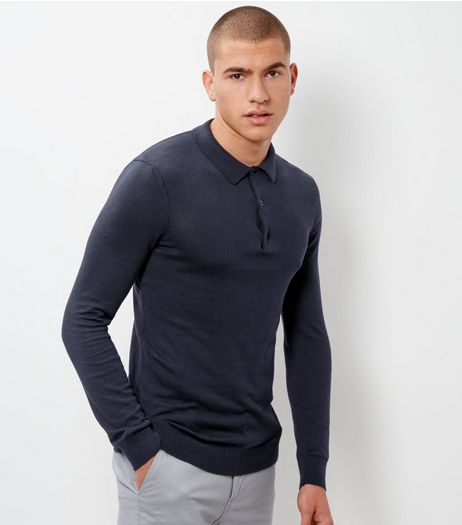 Navy Long Sleeve Knit Polo | New Look
