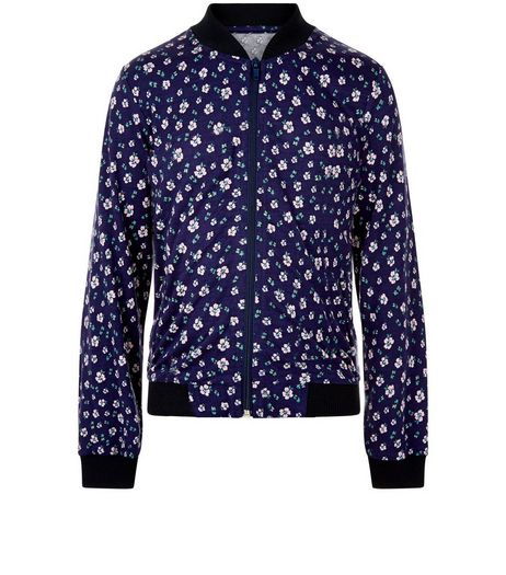 Girls Blue Ditsy Floral Bomber Jacket | New Look