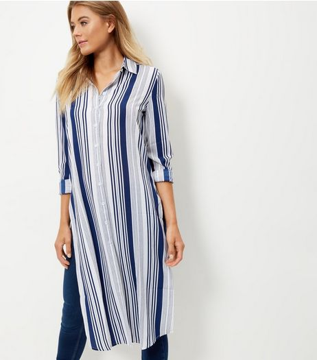 Blue Stripe Split Side Longline Shirt  | New Look