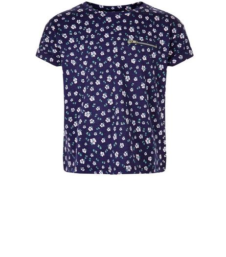 Girls Blue Ditsy Floral Zip Pocket T-Shirt | New Look