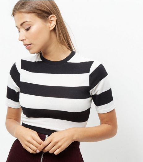 Black Stripe Crew Neck T-Shirt  | New Look