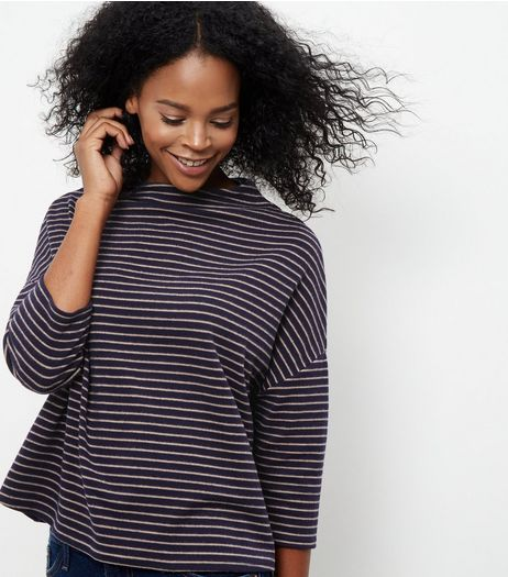 Blue Stripe Funnel Neck Brushed Top | New Look