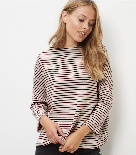 Red Stripe Funnel Neck Top | New Look