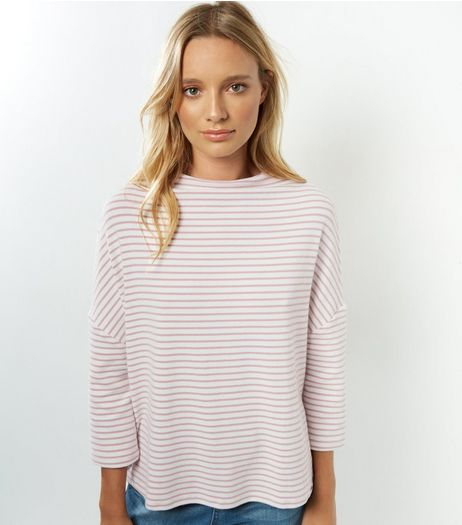 Pink Stripe Batwing Sleeve Brushed Top | New Look