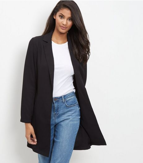 Mela Black Longline Blazer | New Look