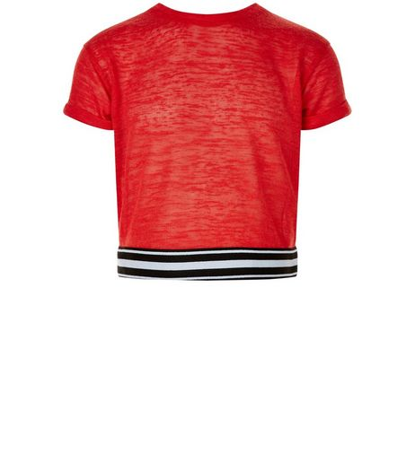 Girls Red Stripe Trim T-Shirt | New Look