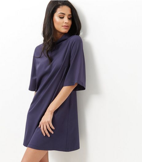 Mela Navy Zip Back Shift Dress | New Look