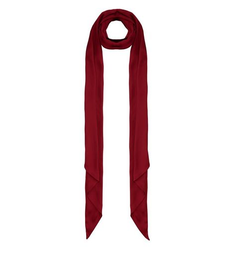 Dark Red Skinny Scarf | New Look