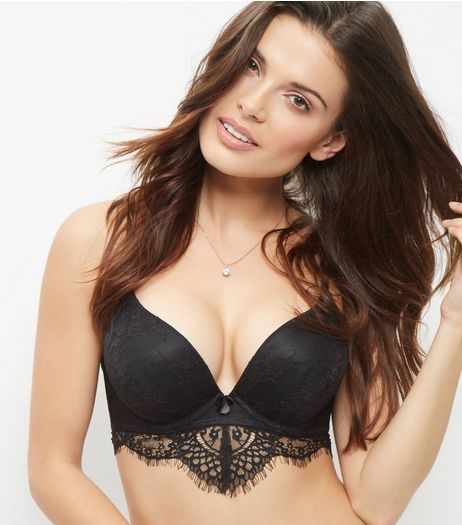 Black Lace Longline Push Up Bra | New Look