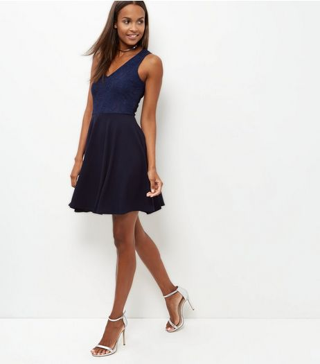 Mela Navy Lace Skater Dress | New Look