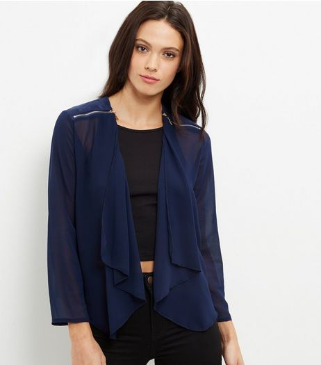 Mela Navy Zip Shoulder Waterfall Jacket | New Look