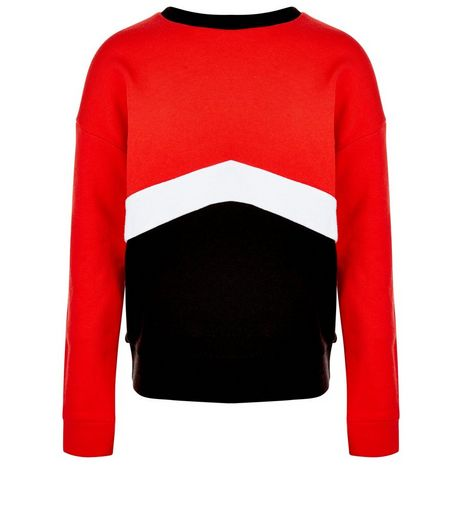 Girls Red Colour Block Sweater | New Look