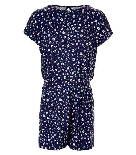 Girls Blue Ditsy Floral Cold Shoulder Playsuit  | New Look