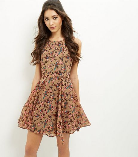 Mela Brown Bird Print Skater Dress | New Look