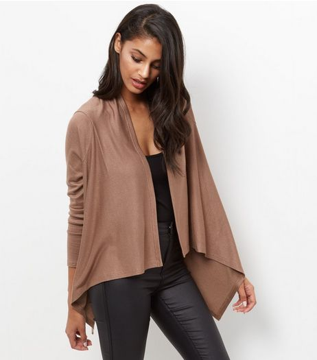 Mela Light Brown Waterfall Cardigan  | New Look