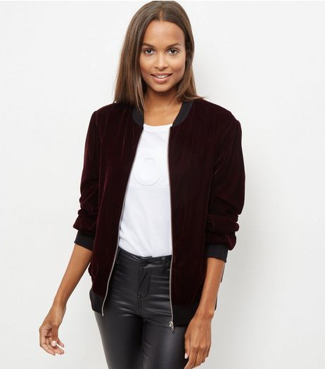 Burgundy Velvet Bomber Jacket  | New Look