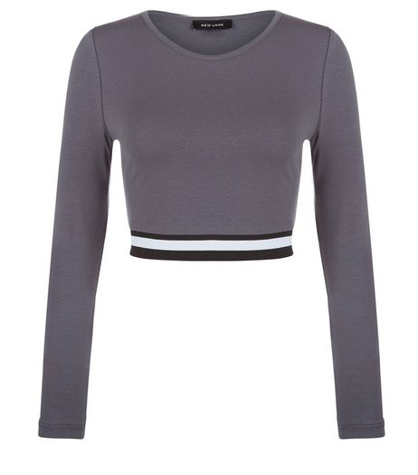 Dark Grey Elasticated Hem Long Sleeve Crop Top  | New Look