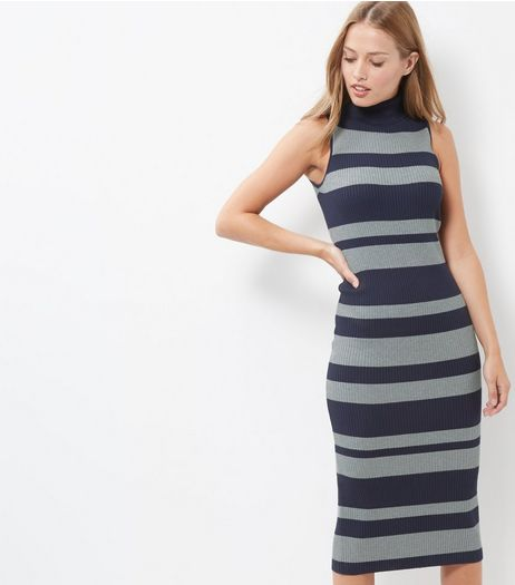 Blue Vanilla Blue Stripe Turtle Neck Midi Dress | New Look