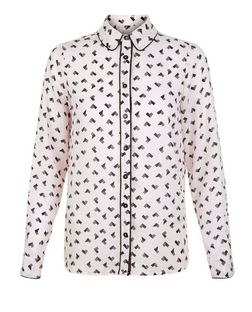 Cameo Rose Pink Heart Print Long Sleeve Blouse | New Look