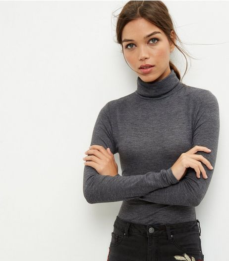 Dark Grey Funnel Neck Long Sleeve Bodysuit | New Look