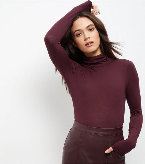 Burgundy Turtle Neck Long Sleeve Bodysuit | New Look