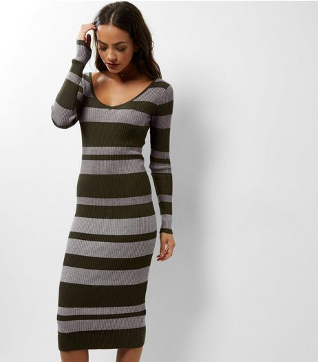 Blue Vanilla Green Stripe Ribbed Midi Dress | New Look