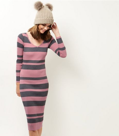 Blue Vanilla Pink Stripe Ribbed Midi Dress | New Look