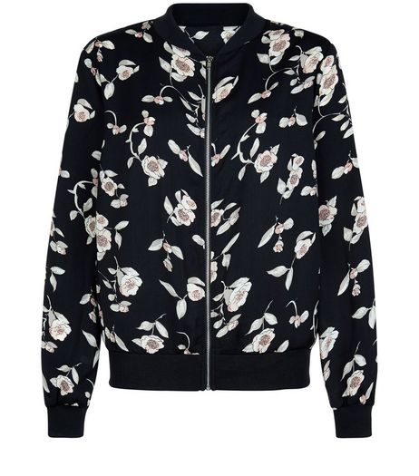 Cameo Rose Black Floral Print Bomber Jacket  | New Look