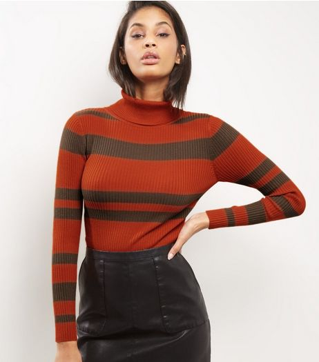 Blue Vanilla Brown Stripe Turtle Neck Top | New Look