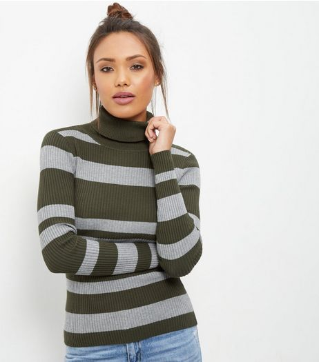 Blue Vanilla Green Stripe Turtle Neck Top  | New Look
