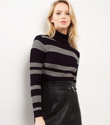 Blue Vanilla Black Stripe Turtle Neck Top | New Look