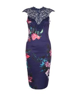 AX Paris Navy Floral Print Lace Trim Midi Dress | New Look
