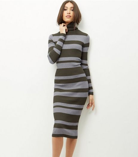 Blue Vanilla Green Stripe Turtle Neck Dress | New Look