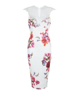 AX Paris Cream Floral Print Lace Trim Midi Dress | New Look