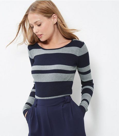 Blue Vanilla Blue Ribbed Stripe Long Sleeve Top  | New Look