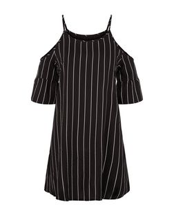 AX Paris Black Stripe Cold Shoulder Dress | New Look