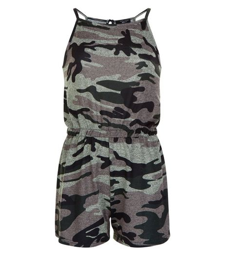 Girls Green Camo Print Playsuit | New Look