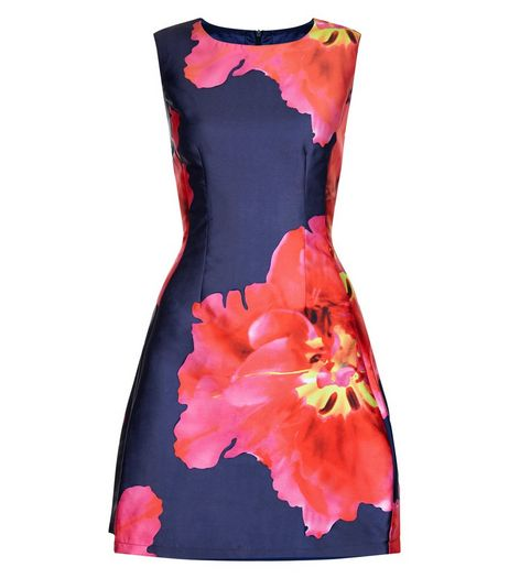 AX Paris Navy Floral Print Sleeveless Dress  | New Look