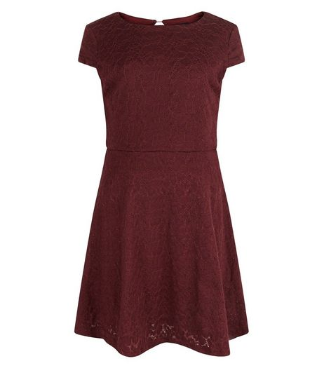 Girls Burgundy Lace Cap Sleeve Dress | New Look