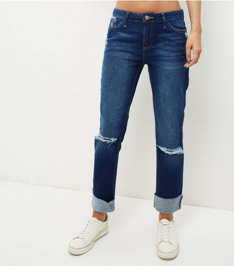 Blue Turn Up Straight Leg Jeans | New Look