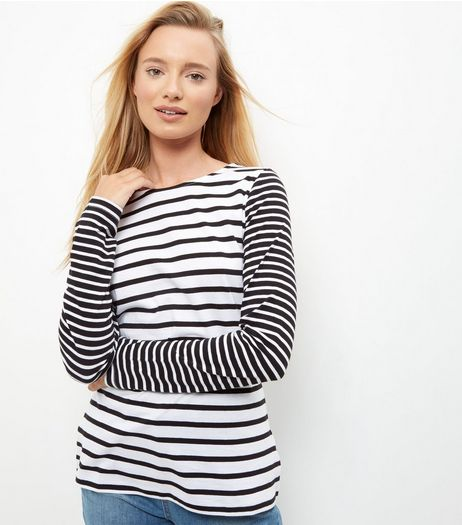 White Contrast Stripe Print Crew Neck T-Shirt  | New Look